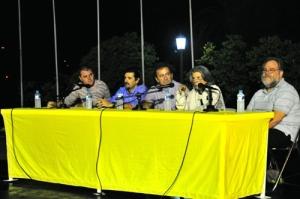 39ο Φεστιβάλ Βιβλίου, Ζάππειο 11/9/2010.  Η Ε.Λ.Σ.Α.Λ. Συζητά για την αστυνομική λογοτεχνία στην Ελλάδα σήμερα.  Γιάννης Ράγκος, Δημήτρης Μαμαλούκας, Τιτίνα Δανέλλη, Τεύκρος Μιχαηλίδης. Φωτογραφία:  Αντώνης Γκόλτσος.
